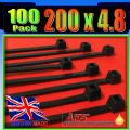 4.8mm x 200mm Black Nylon Cable Ties, (Zip Tie Wraps)